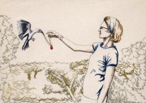 moeder voert de vogels